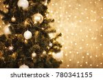 gold christmas background of de ... | Shutterstock . vector #780341155