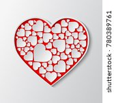 beautiful red paper cut out... | Shutterstock .eps vector #780389761