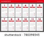 2018 calendar planner design. | Shutterstock .eps vector #780398545