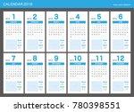 2018 calendar planner design. | Shutterstock .eps vector #780398551
