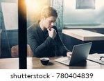 serene businessman typing in...   Shutterstock . vector #780404839