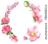 floral circle with watercolor... | Shutterstock . vector #780408211