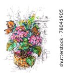 composition of flowers and... | Shutterstock . vector #78041905