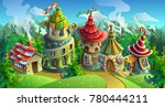 a fairytale village with bright ... | Shutterstock .eps vector #780444211