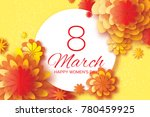 orange paper cut flower. 8...   Shutterstock . vector #780459925