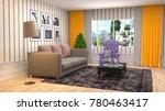 interior living room. 3d... | Shutterstock . vector #780463417