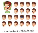 set of male facial emotions... | Shutterstock .eps vector #780465835