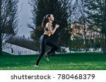 sportswoman running around in...   Shutterstock . vector #780468379