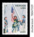 USA - CIRCA 2002 - Stamp shows Firemen atop the World Trade Center rubble. A surtax aided families of dead or disabled emergency personnel from the terrorist attacks of September 11, 2001. Circa 2002. - stock photo