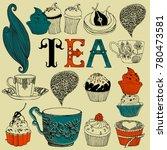 tea time decorative vector card | Shutterstock .eps vector #780473581