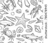hand drawn marine seamless... | Shutterstock .eps vector #780478945