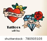 hand drawn tattoos with love.... | Shutterstock .eps vector #780505105