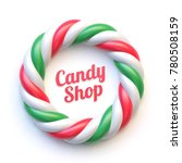 candy cane circle frame on...   Shutterstock .eps vector #780508159
