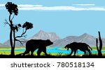 bear and tiger silhouettes ...   Shutterstock .eps vector #780518134