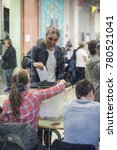 Small photo of BARCELONA - OCTOBER 1: Unidentified people vote in referendum on Catalonia independence, in defiance of the Spanish government, on October 1, 2017, in Barcelona, Spain.