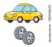 car and two wheel tires isolated | Shutterstock .eps vector #780548659
