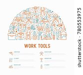 work tools concept in half... | Shutterstock .eps vector #780553975