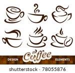 vector set of coffee design... | Shutterstock .eps vector #78055876