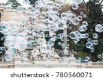 group of flying soap bubbles... | Shutterstock . vector #780560071