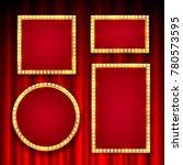 gold frame with light bulbs on... | Shutterstock .eps vector #780573595