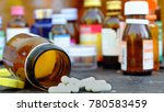 the pills is placed on the... | Shutterstock . vector #780583459
