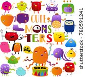 cute hand drawn doodle monsters | Shutterstock .eps vector #780591241