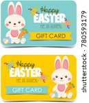 happy easter gift cards. cute... | Shutterstock . vector #780593179