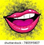 pop art excited woman lips  dot ... | Shutterstock .eps vector #780595807