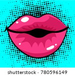 pop art excited woman lips  dot ...   Shutterstock .eps vector #780596149