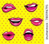 pop art excited woman lips  dot ... | Shutterstock .eps vector #780596791