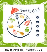 clock to show time eat concept. ... | Shutterstock .eps vector #780597721