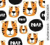 muzzle of tigers  hand drawn... | Shutterstock .eps vector #780601804