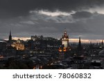 night edinburgh - stock photo