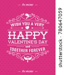 valentines day card with label... | Shutterstock .eps vector #780647059