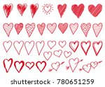 set doodle  hand drawn red... | Shutterstock .eps vector #780651259