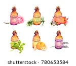 collection of bottles with... | Shutterstock . vector #780653584