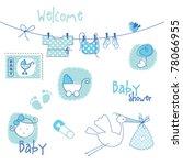 baby shower design elements   Shutterstock .eps vector #78066955