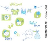baby shower design elements | Shutterstock .eps vector #78067003