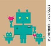 green robot holds heart   Shutterstock .eps vector #780673231