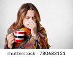 pretty sick woman has runnning... | Shutterstock . vector #780683131