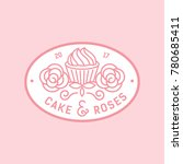 cake and rose monocrest bakery... | Shutterstock .eps vector #780685411