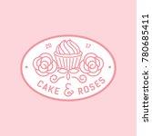 cake and rose monocrest bakery... | Shutterstock .eps vector #780685411