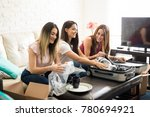 attractive latin friends... | Shutterstock . vector #780694921