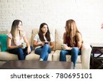 group of three female friends...   Shutterstock . vector #780695101