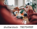 girl checking circuit board... | Shutterstock . vector #780704989