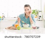 smiling happy woman having a... | Shutterstock . vector #780707239