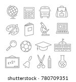 gray school and education line... | Shutterstock . vector #780709351