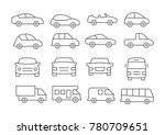 gray car line icons on white... | Shutterstock . vector #780709651