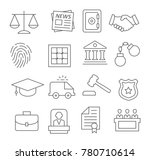 gray law line icons set on... | Shutterstock . vector #780710614