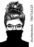 Beautiful Woman With Messy Bun Wearing Black Turtleneck | Shutterstock vector #780716125